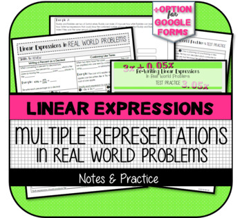 7.EE.2 - Re-Writing Linear Expressions Booklet: Notes & Test Practice