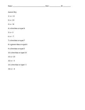7.EE.4 Inequalities Assessment Quiz