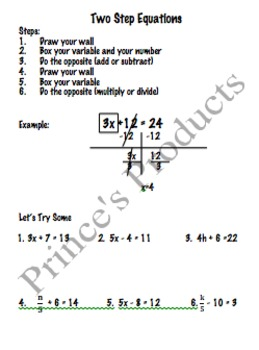 7. EE. 4 Two Step Equations Lesson 8