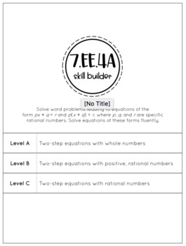 Two-Step Equations - 7.EE.4a Skill Builder - Differentiated Math Intervention