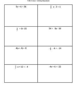 7.EE.4a - Solving Equations Quiz