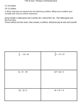 7.EE.4a - Writing & Solving 2-Step Equations