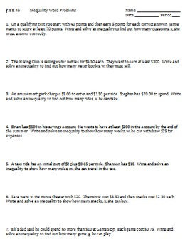 7.EE.4b Inequality Word Problems Worksheet