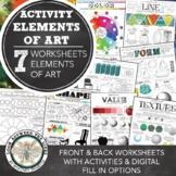 Elements of Art Worksheets, Activities: Elementary Art, Middle & High School Art