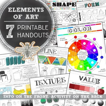 7 Elements of Art Worksheets: Middle and High School Visua