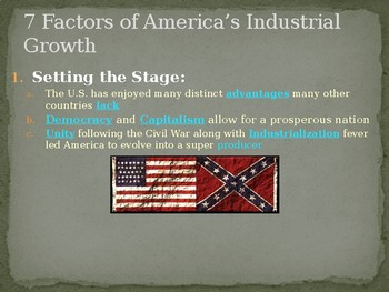 7 Factors of America's Industrial Growth PowerPoint Lecture