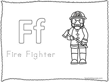 7 Fire Fighter themed Color and Trace Worksheets.  Homeschool educational work