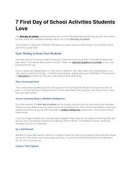 7 First Day of School Activities Students Love