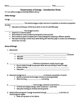 7 Forms of Energy Guided Notes