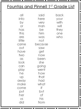 7 Fountas and Pinnell Printable Sight Word Lists. KDG-5th Grade.