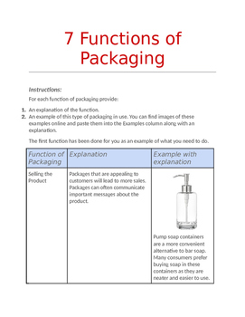 7 Functions of Packaging Worksheet