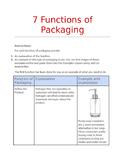 7 Functions of Packaging Worksheet