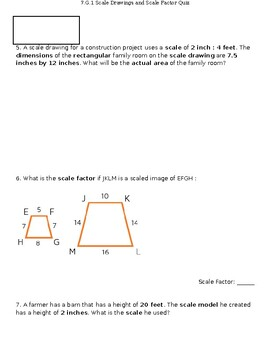 7.G.1 Quiz - Scale Drawings