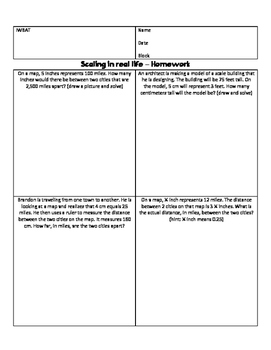 7.G.1 Scaling guided notes, project and homework