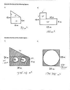 7.G.4 7.G.6 Common Core 7 Area Composite Figures Assessment Quiz
