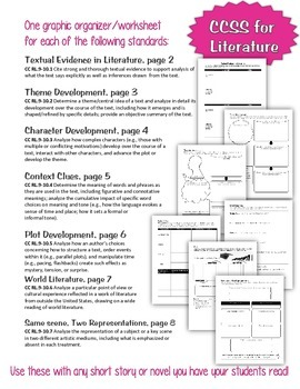 7 CCSS Graphic Organizers/Worksheets to use with ANY Short Story/Novel
