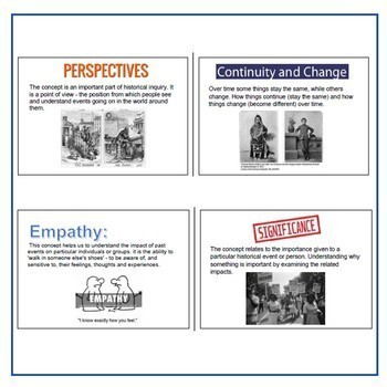 7 Historical Concepts & Skills Posters + Summary