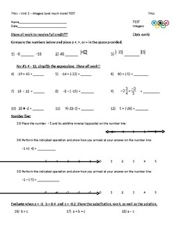 7 Honors MATH TEST on INTEGERS (Unit 1)
