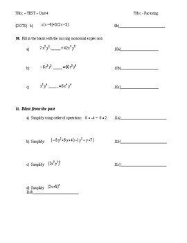7 Honors Math TEST on FACTORING (Unit 4)