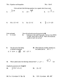 7H - TEST REVIEW - Equations and Inequalities - 1 and 2 step (TOT Unit 5)