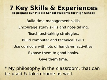 7 Key Skills and Experiences to Prepare our MS Student's for HS PPT