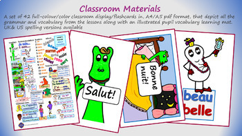 7 LESSON ELEMENTARY GRADE 2+ FRENCH UNIT:Greetings, name, age, nos 1-12, colors