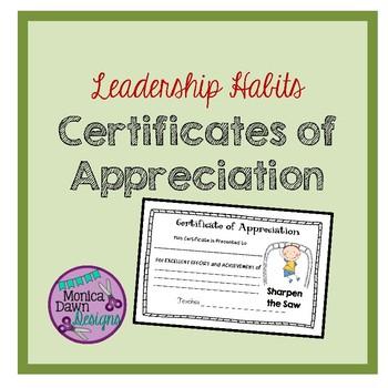 7 Leader Certificates of Appreciation, Habits