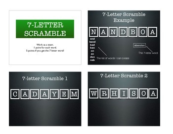 7-Letter Scramble (Scrabble) Warm-up Activity