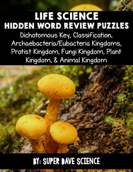 Life Science Hidden Word Vocabulary 7 Puzzles: Dichotomous Key, Classification