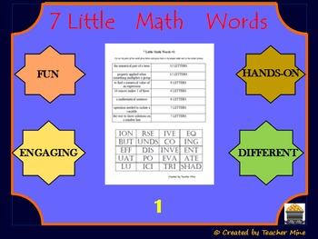 7 Little Math Words 1 Algebra 1 Vocabulary Review Activity