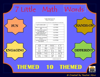 7 Little Math Words 10 Geometry (Themed) Vocabulary Review Activity