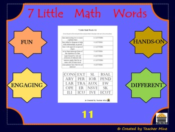 7 Little Math Words 11 Geometry Vocabulary Review Activity