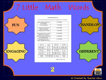 7 Little Math Words 2 Geometry Vocabulary Review Activity