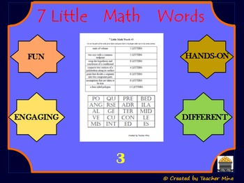 7 Little Math Words 3 Geometry Vocabulary Review Activity