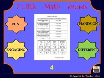 7 Little Math Words 4 Geometry Vocabulary Review Activity