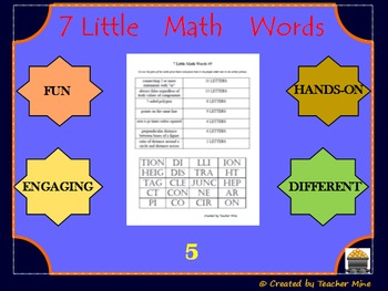 7 Little Math Words 5 Geometry Vocabulary Review Activity