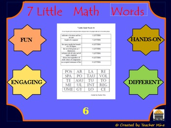 7 Little Math Words 6 Geometry Vocabulary Review Activity