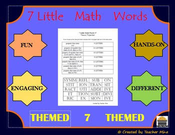 7 Little Math Words 7 Geometry (Themed) Vocabulary Review