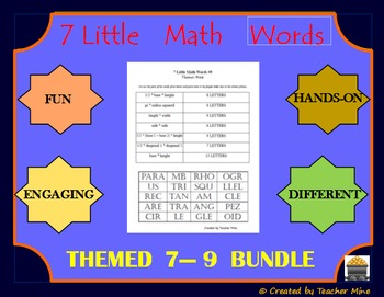 7 Little Math Words 7,8,9 (Bundled/Themed 3-Pk) Geometry Vocabulary Review