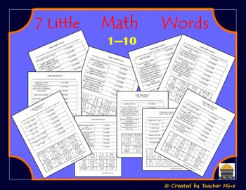 7 Little Math Words Bundled 10-pack Geometry Vocabulary Review Activities