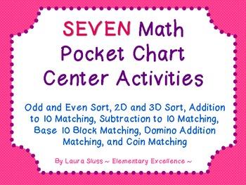 7 Math Centers (2D & 3D Shapes, Coins, Base 10 Blocks, Add