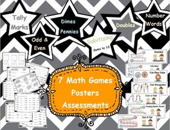 7 Math Games and Assessments Tally Marks, Coins,  Addition,  Even and Odd