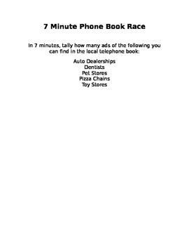 7 Minute Phone Book Race