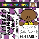 7 Minute Whiteboard Videos - Race to Write EDITABLE Sight Words