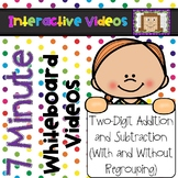 7 Minute Whiteboard Videos - Two Digit Addition and Subtraction BUNDLE