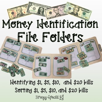 Money (Bills) ID / Sorting File Folders for Special Education