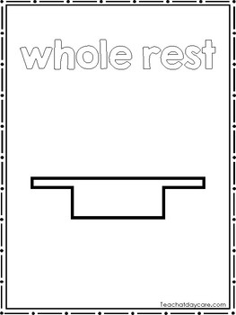 7 Music Rests Color Sheets. Preschool-2nd Grade Music.
