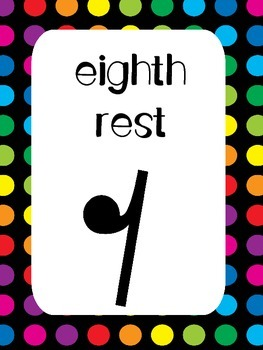7 Music Rests Posters/Anchor Charts for your Classroom.