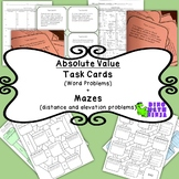 7NS Absolute Value- Distance between two points-Word Problem Task Cards+ 2 mazes