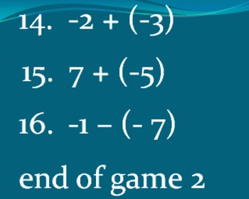7.NS.1 Addition and Subtraction of Integers Bingo